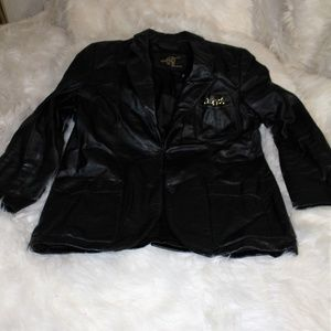 Etienne Aigner Sz 14 black Leather Blazer